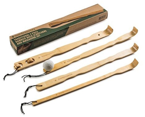 BambooWorx 4 Piece Traditional Back Scratcher and Body Relaxation Massager Set