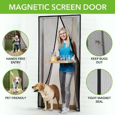 Homitt Magnetic Screen Door with Heavy Duty Mesh Curtain and Full Frame Velcro