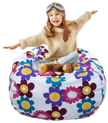 Kid's Stuffed Animal Storage Bean Bag Chair with Extra Long Zipper, Carrying Handle
