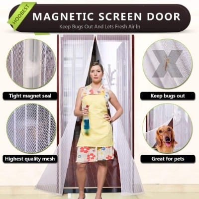 White Magnetic Screen Door, Heavy Duty Mesh Screen & Full Frame Velcro-Keep Bugs Out