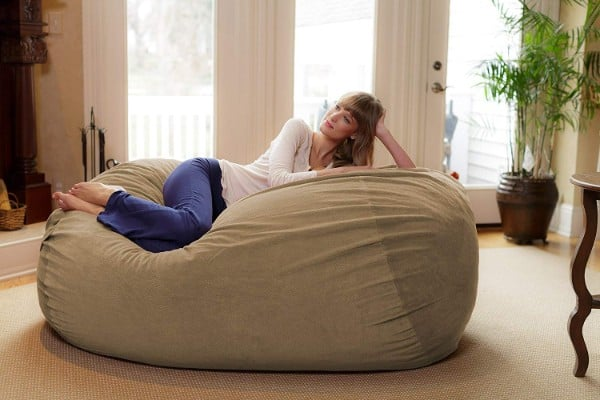 Chill Sack Bean Bag Chair- Huge 6-Inch Memory Foam Furniture Bag and Large
