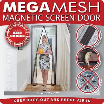 Magnetic Screen Door Heavy Duty Reinforced Mesh, Full Frame Velcro Fits Doors 34x82