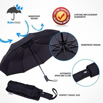 Rain-Mate Compact Travel Umbrella - Windproof, Reinforced Canopy