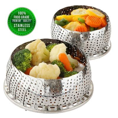 TWO-PACK (Large and Standard) Vegetable Steamer Basket Set
