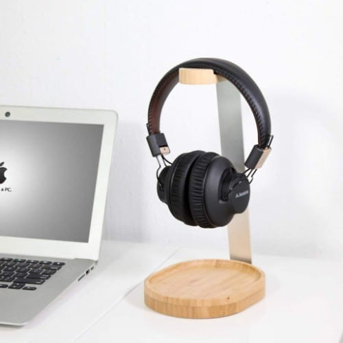Avantree Universal Wooden & Aluminum Headphone Stand Hanger with Cable Holder