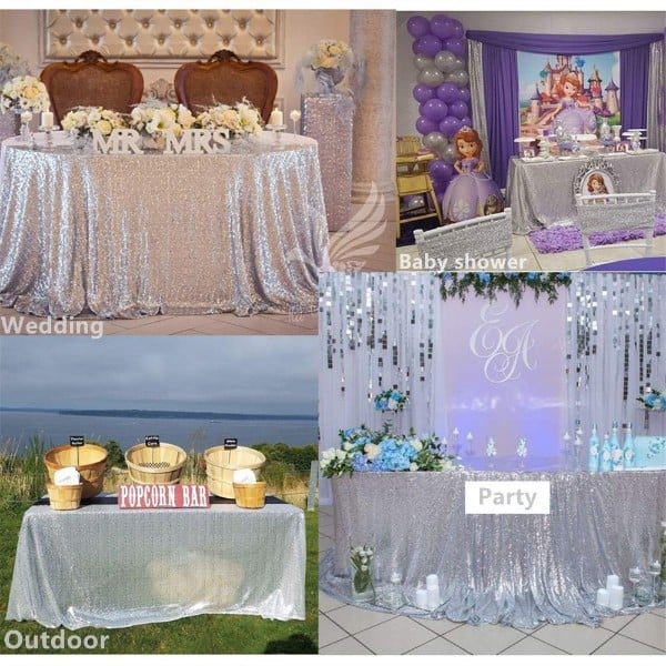 B-COOL 60X102 Rectangle Silver sequin Tablecloth