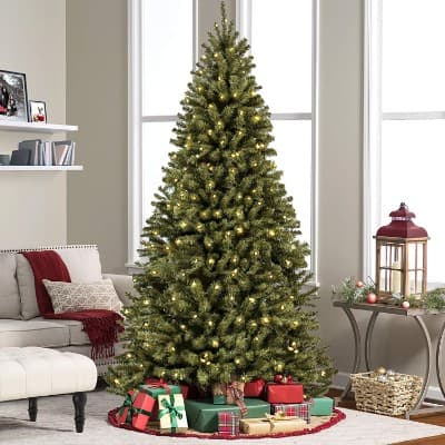 #1. Best Choice Products 7.5' Ft Prelit Premium Spruce Hinged Artificial Christmas Tree