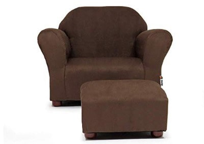 KEET Roundy Child Size Chair with Microsuede Ottoman, Brown
