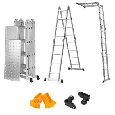 Finether 15.4ft Heavy Duty Multi Purpose Aluminum Folding Extension Ladder
