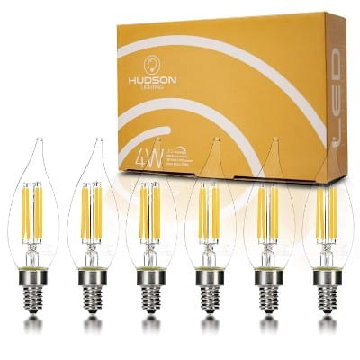Hudson Lighting Dimmable Flame Tip Candelabra LED Bulbs