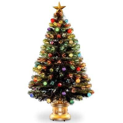 #3. National Tree 48 Inch Fiber Optic Ornament Fireworks Tree with Gold Top Star and Multicolored