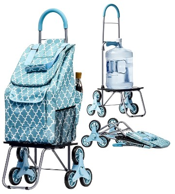 Bigger Trolley Dolly Stair Climbers, Moroccan Tile Grocery Foldable Cart