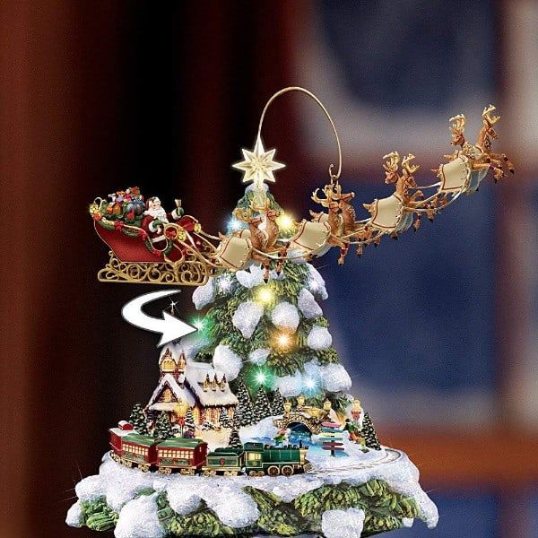 Hawthorne Village Thomas Kinkade Wonderland Express Animated Tabletop Christmas Tree