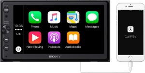Sony XAV-AX100 6.4 Car Play-Android Auto Media Receiver with Bluetooth