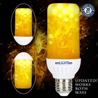 LED Flame Effect Light Bulb {UPDATED for 2018} DOWNWARD and UPWARD Fire Flickering