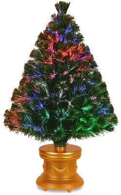#4. National Tree 36 Inch Fiber Optic Evergreen Firework Tree with Multicolor Lights in Gold Base