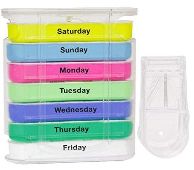 Pill Organizer Box - Weekly Case with Pill Splitter Cutter