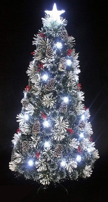 #8. Snowy White Pine Pre-lit Flocked Christmas Tree