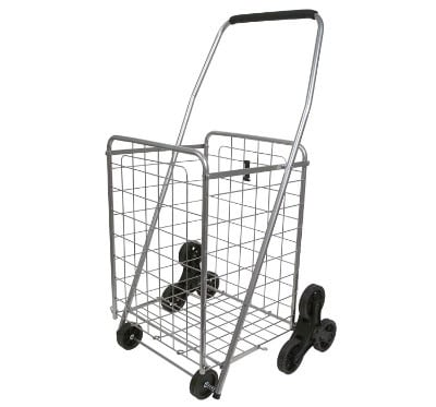Helping Hand Deluxe Stair Climber Cart in Silver | Folding Cart Holds Up to 60 lbs