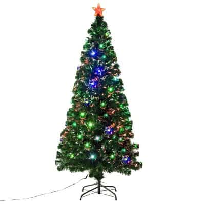 #9. 6' Fiber Optic w: 24 LED Lights Holiday Pre-Lit Artificial Christmas Tree