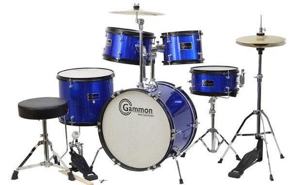 Gammon 5-Piece Junior Starter Drum Kit with Cymbals, Hardware, Sticks, & Throne