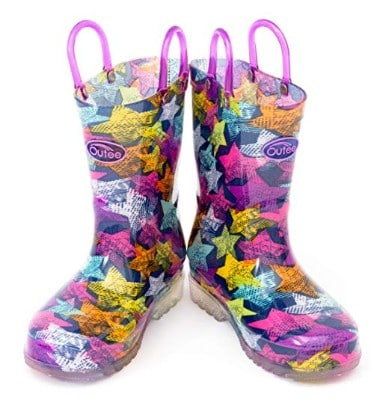 Outee Toddler Boys Girls Printed Light Up Rain Boots