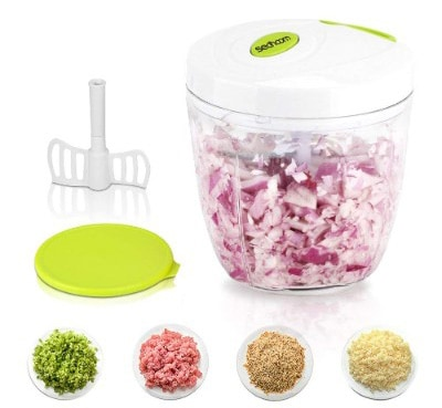 Manual Food Chopper 5 Blades 1000 ml, Sedhoom Powerful Easy