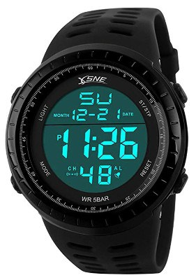 Digital Sports Watch Water Resistant Outdoor Easy Read Military Back Light Black Big Face Men's