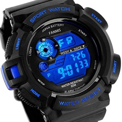 Fanmis Mens Military Multifunction Digital LED Watch Electronic Waterproof Alarm Quartz Sport