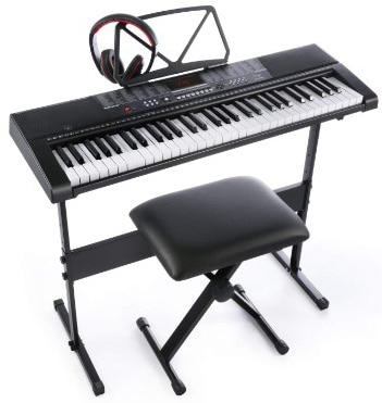 Joy 61-Key Standard Electronic Piano Keyboard Set with Stand, Stool, and Power Supply (JK-63M-KIT)
