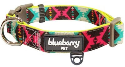 Blueberry Pet 13 Colors Soft & Comfortable Vintage Tribal Pattern Adjustable Dog Collar