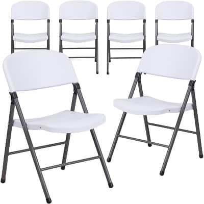 Flash Furniture 6 Pk. HERCULES Series 330 lb. Capacity White Plastic Folding Chair