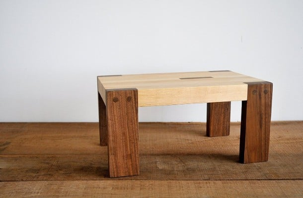 Step Stool by Jonathan Alden, Solid Walnut and Maple