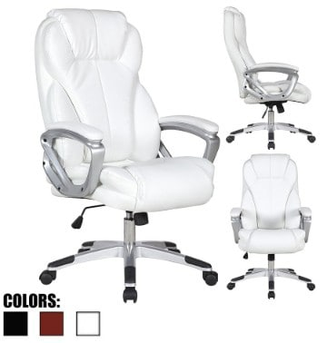 2xhome - White - Deluxe Professional PU Leather Tall and Big Ergonomic Office High Back Chair