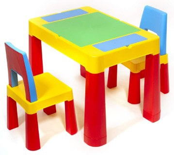 ihubdeal XL 3 in 1 Kids Activity Table Building Blocks and Chair Set