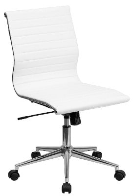 Flash Furniture Mid-Back Armless White Ribbed Leather Swivel Conference Chair
