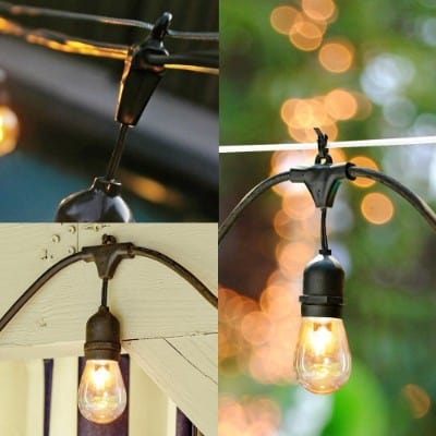 2-Pack SUNTHIN 48ft String of Lights with 15 x E26 Sockets and Hanging Loops, 18 x 11 Watt