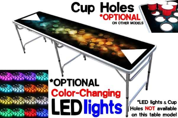 8-Foot Professional Beer Pong Table w:OPTIONAL Cup Holes & LED Glow Lights
