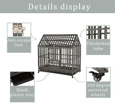 LUCKUP Heavy Duty Dog Cage Strong Metal Kennel and Crate