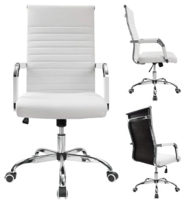 Furmax Mid Back Executive Office Chair Leather-Padded Desk Chair with Armrests,Ergonomic Swivel Task Chair with Lumbar Support White