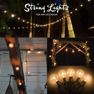 50ft Black String Lights, 60 G40 Globe Bulbs (10 Extra)- Connectable