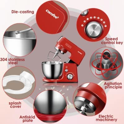 Comfee 2.6Qt Die Cast 7-in-1 Multi Function Tilt-Head Stand Mixer