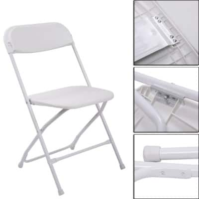 LAZYMOON 10 PCs White Plastic Folding Chairs