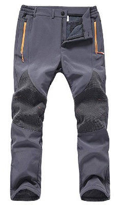 Gash Hao Mens Snow Ski Waterproof Softshell Pants Outdoor Hiking Fleece Lined Zipper Bottom