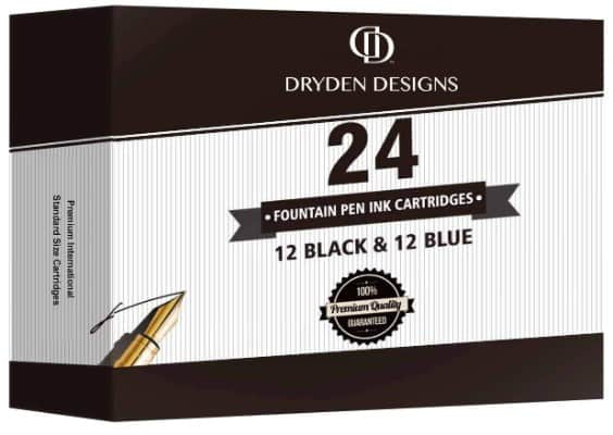 Dryden Fountain Pen Ink Cartridges ✮ SET OF 24- 12 BLACK & 12 BLUE