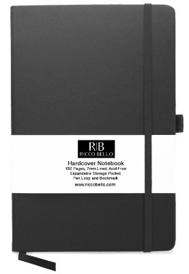 RICCO BELLO Classic Ruled Notebook with Pen Loop : 5.7 x 8.4 inches