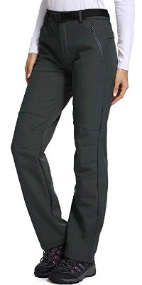 Women's Outdoor Fleece-Lined Soft Shell Hiking Fishing ski Pants Insulated Water, Wind-Resistant