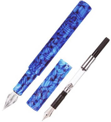 Moonman Fountain Pen EF Fude Bent Nib & Glass Dip Pen Blue Celluloid