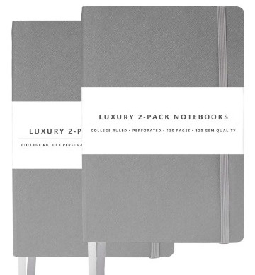 2 Pack Luxury Notebook Journal - 130 Perforated Pages