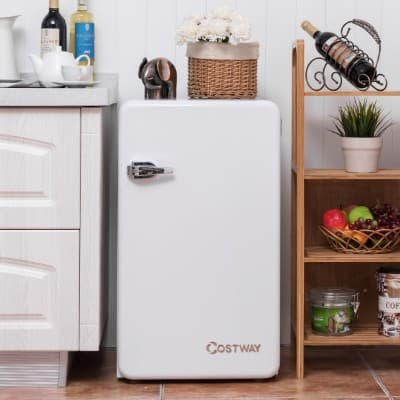 Costway Compact Refrigerator Single Door Mini Fridge with Freezer